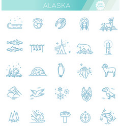thin line arctic icons set north pole outline vector image