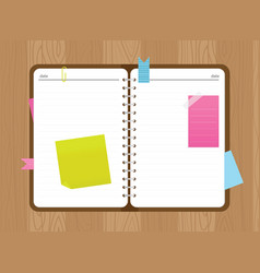 Top view open diary with stickers and a paper clip vector