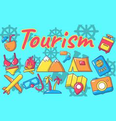 Tourism concept banner cartoon style vector
