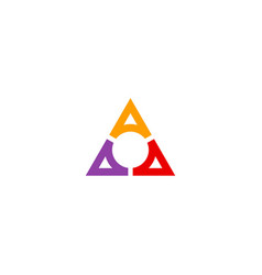 triangle colored circle company logo vector image