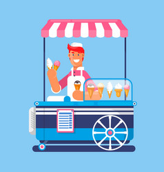 trolley with ice cream ice cream cart market vector image