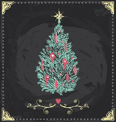 Vintage Christmas Tree Chalkboard Hand Drawn Set vector