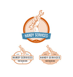 vintage professional handy services logo with vector image