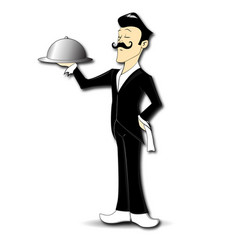 waiter serving character vector image