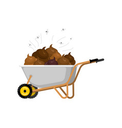 wheelbarrow and shit turd in garden trolley vector image
