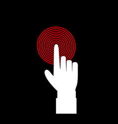 White hand with index finger touching or pushing vector