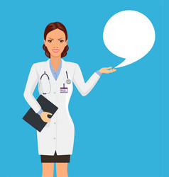 woman doctor holding clipboard talking vector image