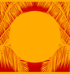 yellow sun and palm trees mask on red background vector image
