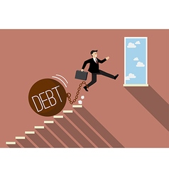 Businessman jumping to success with heavy debt vector image