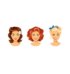 female hairstyle retro vector image vector image