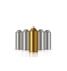golden paint aerosol spray metal bottle can vector image