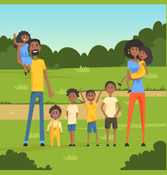 happy black family with many children in the park vector image vector image