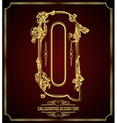 Calligraphic font Letter Q vector image vector image