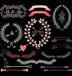 Chalkboard Wedding Elements vector image