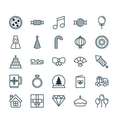 Christmas icons set collection of doughnut vector