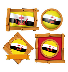 flag of brunei in different frames vector image vector image