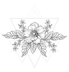 Hand drawn boho tattoo Blackwork flower in hipster vector image
