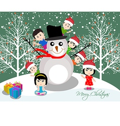 Merry christmas with happy kids and snowman vector
