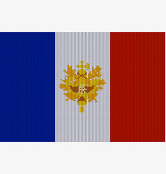 flag and emblem of france on knitted texture vector image vector image