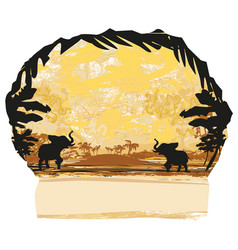 grunge background with elephant family vector image