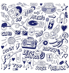 music party - doodles vector image