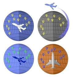 Set of Airplane Icons Travelling by Plane vector image vector image