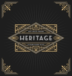 Art deco frame and label design vector image vector image