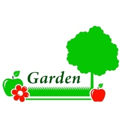 garden background with tree flower green grass vector image