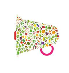 Megaphone vegetables fruits vegetables organic vector