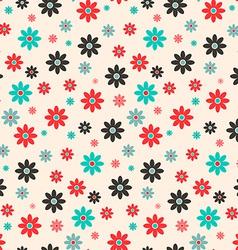 Seamless Retro Flat Design Flowers Background vector image vector image