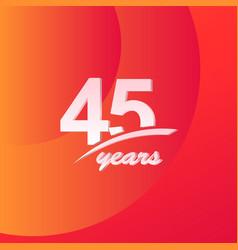45 years anniversary color full line elegant vector