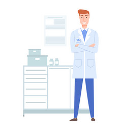 A doctor in a white coat with a badge works in the vector