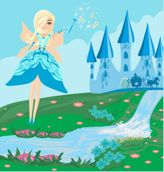 A fairy castle and a carriage vector