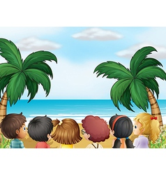 A group of kids at the beach vector image