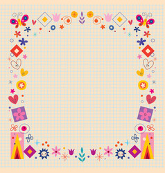 abstract art flowers nature retro frame vector image