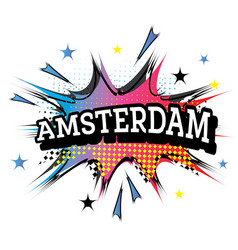 Amsterdam comic text in pop art style vector