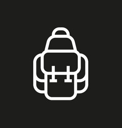 backpack icon on black background vector image vector image