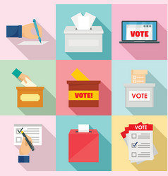 ballot voting box vote icons set flat style vector image
