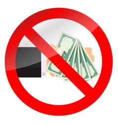 Ban cash money icon vector