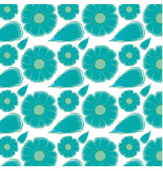 Beautiful blue flowers pattern background vector