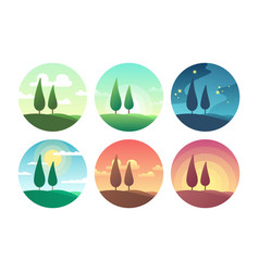 Beautiful summer landscape at different times of vector