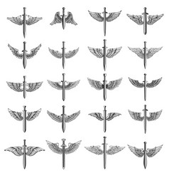 Big set of winged swords for emblem sign logo vector