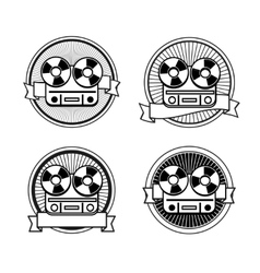 Black and white reel tape recorder stamp vector image