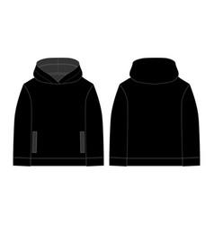 Black hoodie for children on white background vector
