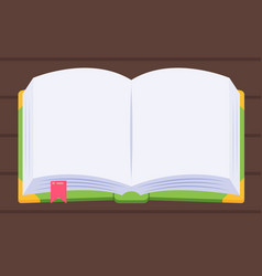 blank story book on wood table cartoon flat style vector image