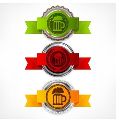 Bottle caps with beer mug vector image