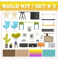Build kit 3 office furniture vector