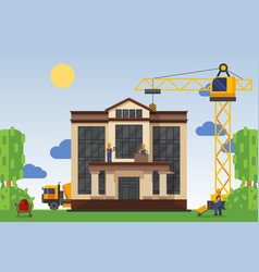 building under construction with workers vector image