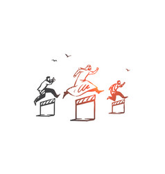 Business competition rivalry concept sketch hand vector