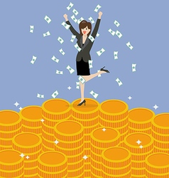 Business woman celebrating on Money vector image